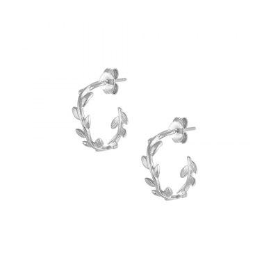 Olive Leaf Hoop Earrings